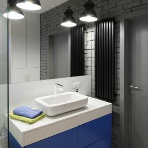 Duża i pojemne szafka zapewnia sporo miejsca na przechowywanie. Jej niebieska kolorystyka pięknie ożywia wnętrze łazienki. Projekt: Monika i Adam Bronikowscy. Fot. Bartosz Jarosz.