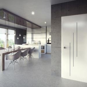 Drzwi Tiara dostępne w pięciu wzorach, które różnią się między sobą rozmieszczeniem listew. Drzwi podkreślają industrialny styl wnętrz. Istnieje możliwość pomalowania na jeden z dowolnych odcieni z palety RAL i NCS. Fot. Pol-Skone.