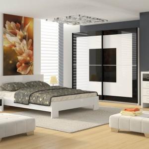 Sypialnia Diana to eleganckie zestawienie bieli i czerni. Taka kompozycja nie tylko ozdabia wnętrze, ale także nada aranżacji lekkości. Fot. FM Brawo.