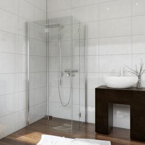 Jej zawiasy są zlicowane z taflami szkła, co ułatwia czyszczenie – składana kabina prysznicowa Foldex marki Sea-Horse. Fot. Sea-Horse.