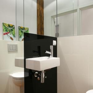 Dzięki lustrom WC wydaje się przestronne. Powierzchnia: ok. 3 m². Projekt: Katarzyna Merta-Korzniakow. Fot. Bartosz Jarosz.
