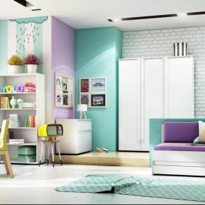 Zestaw Click. Tęczowe barwy ścian, mebli i dodatków spodobają się dziewczynkom. Fot. Timoore.
