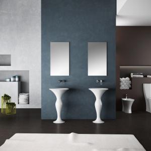 Z ceramiki -  umywalki podłogowe Formosa firmy Olympia. Fot. Olympia.