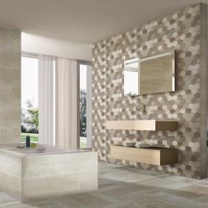 Tak samo wykończone ściany i podłoga - płytki ceramiczne Arozona firmy Azteca Ceramica. Azteca Ceramica.