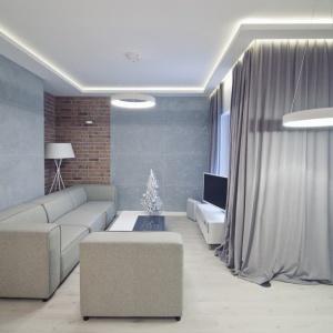 Ściany w salonie wykończono dwom różnymi materiałami: ręcznie wyrabianą cegłą i betonowymi płytami. Fot. RED Real Estate Development.