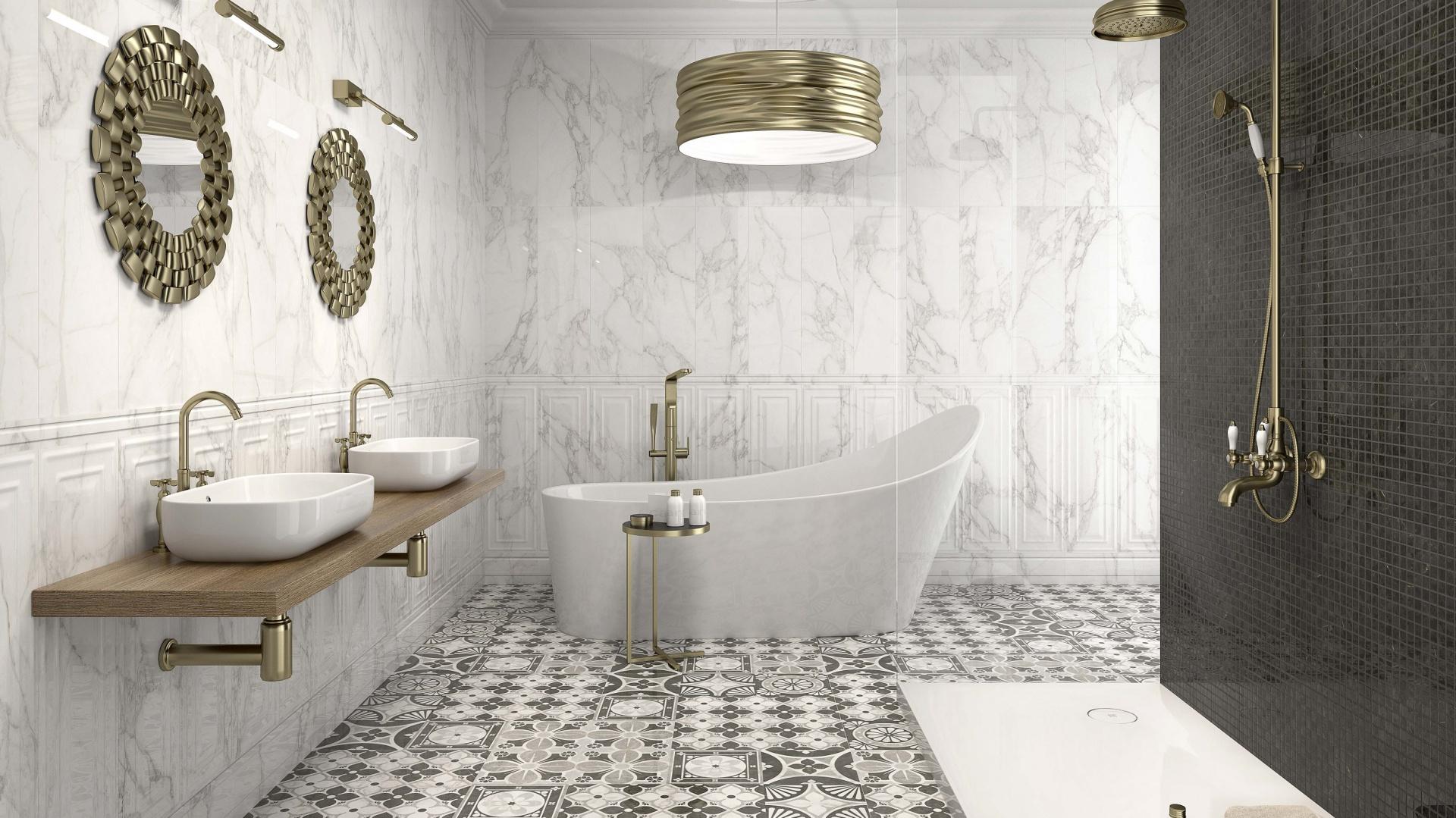 W bieli i szarościach - płytki ceramiczne Crystal firmy Argenta. Fot. Argenta.