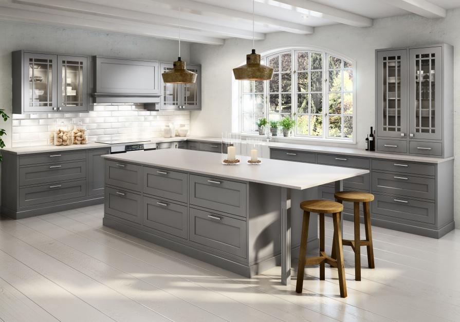 Szara kuchnia utrzymana w Modna kuchnia postaw na   -> Kuchnie Klasyczne Szare