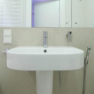 Umywalka i sedes zostały wyposażone w praktyczną baterię typu bidetta. Fot. Bartosz Jarosz.
