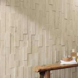 Ściana jak wykończona drewnianymi deseczkami - płytki ceramiczne Axi firmy Atlas Concorde. Fot.  Atlas Concorde.