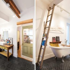 W łazience postawiono na mariaż różnych stylistyk. Nowoczesną kabinę prysznicową i kubistyczną umywalkę zestawiono z niemal barokową wanna wolno stojącą. Projekt: MARK+VIVI. Fot. Adrien Williams.