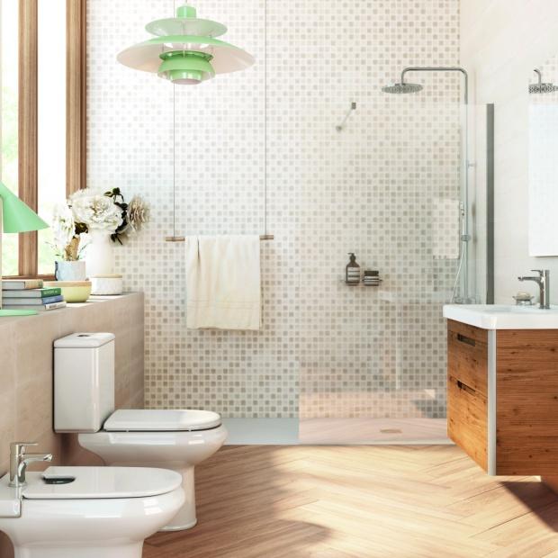 Beżowe płytki – 10 pomysłów do małej łazienki