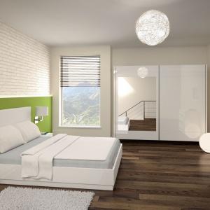 Sypialnia Dalia marki Prospero w białym kolorze, łączy w sobie lakierowane powierzchnie z tapicerowanym zagłówkiem. Fot. Prospero.