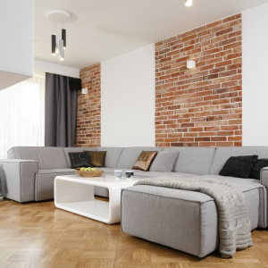 Ściany w salonie zdobi wiekowa cegła w czerwonym kolorze. Projekt: Agata Piltz. Fot. Bartosz Jarosz.