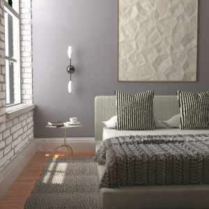 Propozycja szarej sypialni w stylu industrialnym według marki Decoral. Fot. Decoral.
