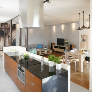 Wyspa kuchenna to element łączący kuchnię z częścią dzienną. Strefa gotowania na wyspie, która odgradza dzienną część mieszkania od kuchni, daje możliwość prowadzenia swobodnych rozmów z gośćmi. Proj. wnętrza Marta Kruk. Fot. Bartosz Jarosz.