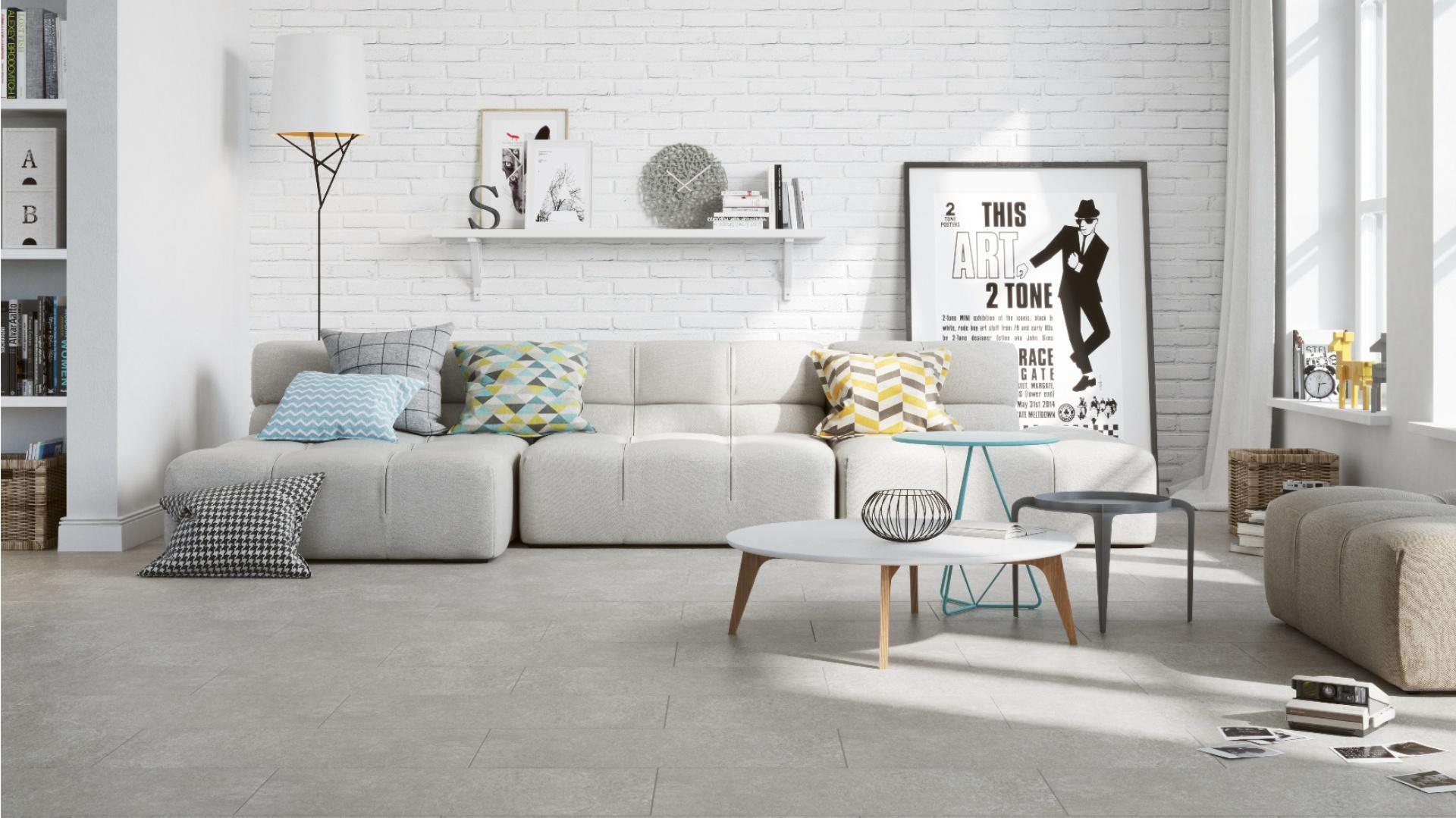 Płytki ceramiczne z kolekcji Monti do złudzenia przypominają prawdziwe płyty cementowe. Pięknie prezentują się na podłodze w towarzystwie cegły na ścianie. Fot. Cersanit.