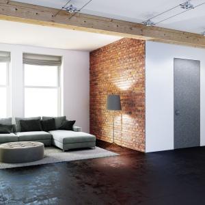 Oryginalne drzwi z ościeżnicą chowającą się w ścianie tutaj jednak same są mocno zaakcentowane wykończeniem skrzydła - antracytowym akrylem. Fot. PIU Design.