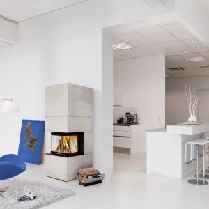 Kominek z niewielkim paleniskiem otwartym z trzech stron jest estetycznym urozmaiceniem salonu. Fot. Brunner, kominek Skyloft.