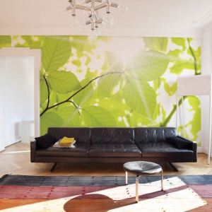 Czarna kanapa prezentuje się znacznie radośniej w aranżacji salonu jeśli ustawimy ją na tle soczyście zielonej fototapety z motywem słońca w prześwitach między liśćmi. Fot. Dekornik.