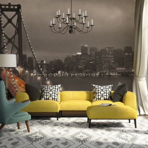 Fototapeta z fotografią w kolorze sepii pozwala na bardziej kolorowe meble w salonie, tonując ich mocne kolory. Fot. Dekornik.
