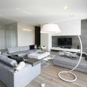 Salon jest miejscem do podejmowania gości, jak również spokojnego wypoczynku przed telewizorem. Projekt: Agnieszka Ludwinowska. Fot. Bartosz Jarosz