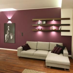 Salon został urządzony w ciemnych, wyrazistych kolorach, dlatego szary narożnik wybrano w jasnym odcieniu. Projekt: Katarzyna Mikulska-Sękalska. Fot. Bartosz Jarosz