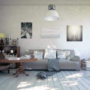 Utrzymana w szarościach aranżacja salonu zachwyca spokojem, kojarzonym z tą barwą. Urozmaiceniem są poduchy na sofie oraz grafiki na ścianie. Fot. Christian Hilebrand/Fotolia.