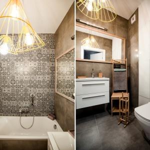 W łazience zestawiono surową szarość betonu z patchworkowymi płytkami. Fot. Nowa Papiernia/Anna Kopec