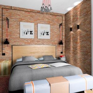 Sypialnia wykończona cegłą; proj. Michał Strawa. Fot. BJM Bricks