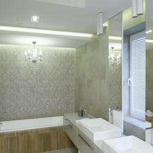 W nowoczesnej łazience w szarościach połączono różne materiały wykończeniowe. Projekt: Dominik Respondek. Fot. Bartosz Jarosz