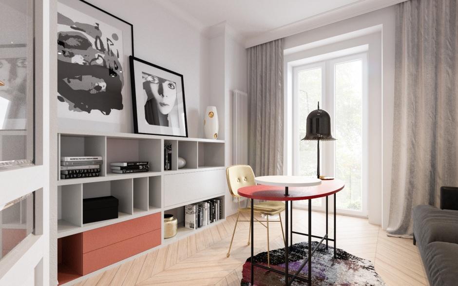Gabinet z biurkiem firmy &tradition, lampa biurkowa Lolita firmy Moooi, grafika autorstwa Marianny Stuhr, wazon Malwiny Konopackiej. Fot. Archiwum projektantów
