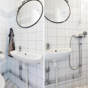 Małą łazienkę wykończono powiększającymi wnętrze białymi płytkami. Fot. Svenksfast.se
