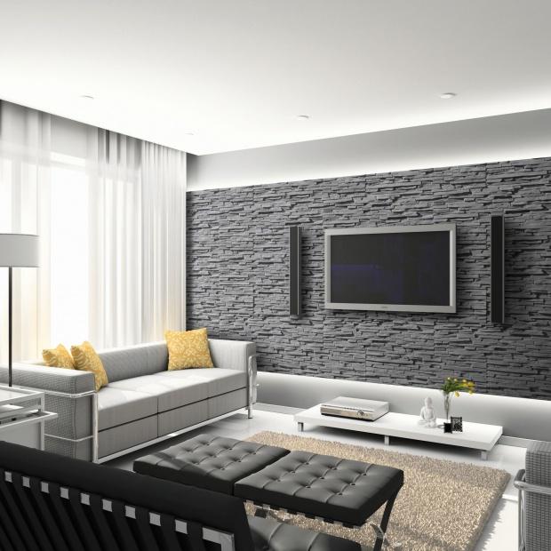 Ściany w salonie - 5 pomysłów na kamień dekoracyjny