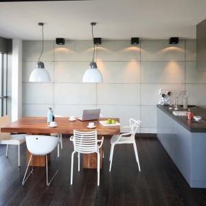Na tle betonowych płyt, pokrywających ścianę zawisły eleganckie, soft-loftowe lampy. Projekt: Justyna Smolec. Fot. Bartosz Jarosz