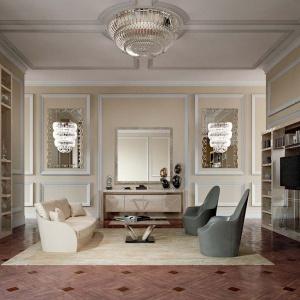 Salon, w którym wykorzystano m.in. lustra, odbijające się w nich lampy oraz plafon z kolekcji Casanova. Fot. Galeria Heban