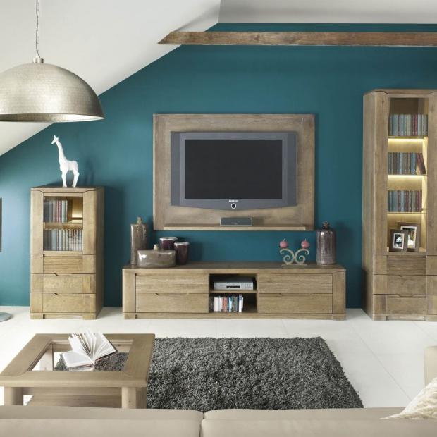 Modny salon: meble w kolorze drewna