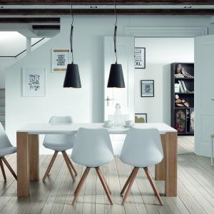 Cienki biały blat stołowy wsparto na solidnych drewnianych nogach, do stworzyło ciekawy efekt wizualny, oparty na kontraście. Stołowi towarzyszą eamesowskie krzesła. Fot. LePukka