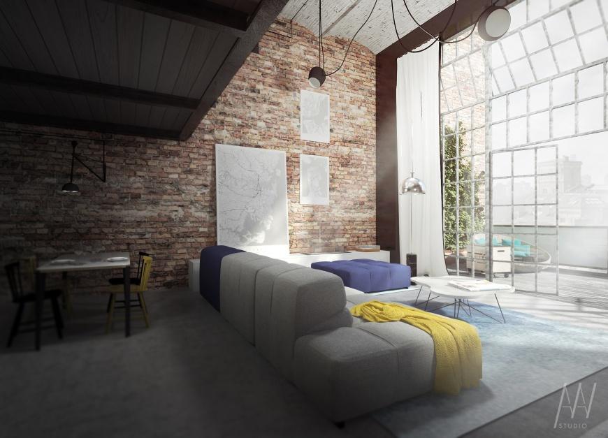 W industrialym wnętrzu w stylu loft czarno-biały plakat z planem miasta to idealny urbanistyczny dodatek. Fot. Maptu.pl. Projekt wnętrza: AAW Studio