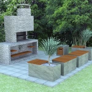 Grill nowoczesny grill z cegły łupanej. Fot. Jadar
