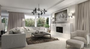 Przestronne wnętrze pięknego domu, urządzonego w jasnych barwach. Ciepło zapewniają detale. Na wyróżnienie zasługują piękne pokoje dziecięce