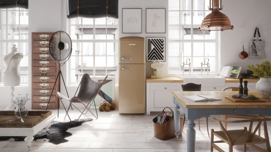 Piękna wolno stojąca Modna kuchnia AGD w stylu retro -> Kuchnia Retro Agd