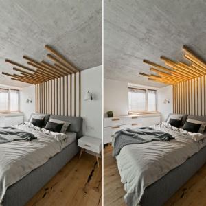 Nad łóżkiem w sypialni zaplanowano ciekawą formę, która nawiązuje do parawanu w strefie wejścia oraz szafek kuchennych w kuchni. Jest ona jednocześnie oświetleniem. Projekt: arch. Indre Sunkodiene. Fot. Leonas Garbačauskas