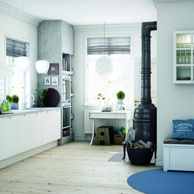 Propozycje architekta na otwartą kuchnię z kominkiem