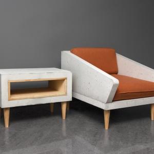Z betonu możemy wykonać np. stolik kawowy. Model Timeless łączy w sobie beton i drewno oraz ma praktyczną wnękę np. na gazety czy książki. Fot. Morgan&Moeller