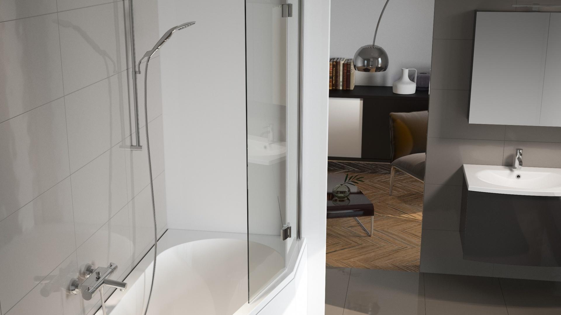 Wanna akrylowa Delta z parawanem i obudową - parawan nawannowy to świetny sposób na połączenie funkcji wanny i prysznica w małej łazience. Fot. Riho.