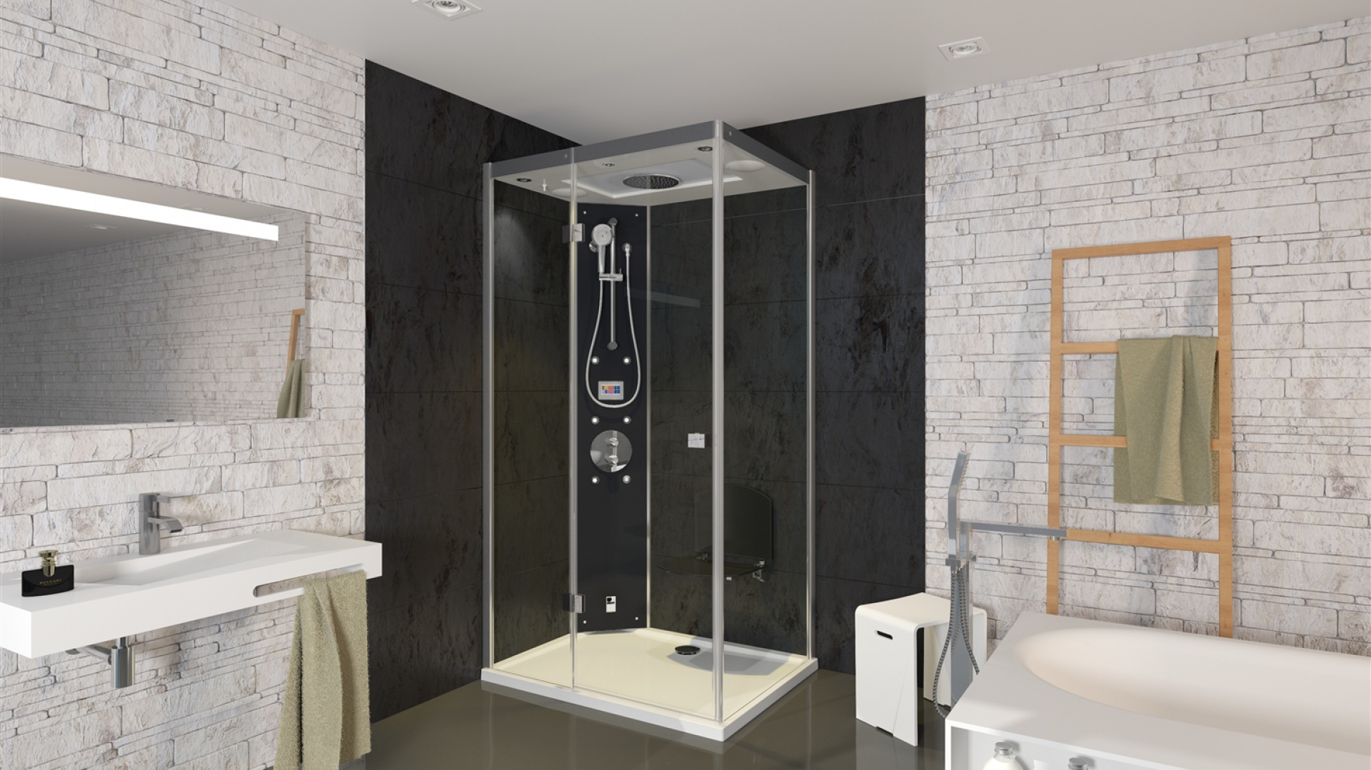 Kabina masażowo-parowa to znakomity wybór dla tych, którzy chcą korzystać i z wygodny prysznica, i z uroków domowego spa.   Na zdjęciu kabina Majestic z oferty Riho - aktywna cyrkulacja gwarantuje stałą i równomierną dystrybucję pary i ciepła, co znacznie podnosi komfort i przyjemność z użytkowania. Fot. Riho.