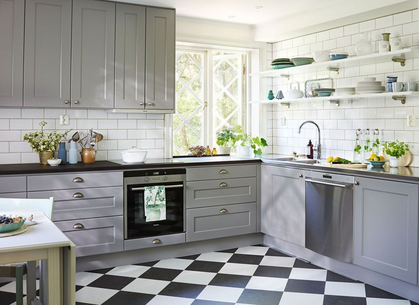 Elegancka klasycyzująca Szara kuchnia 12 pomysłów na   -> Szara Kuchnia Jaki Kolor Ścian