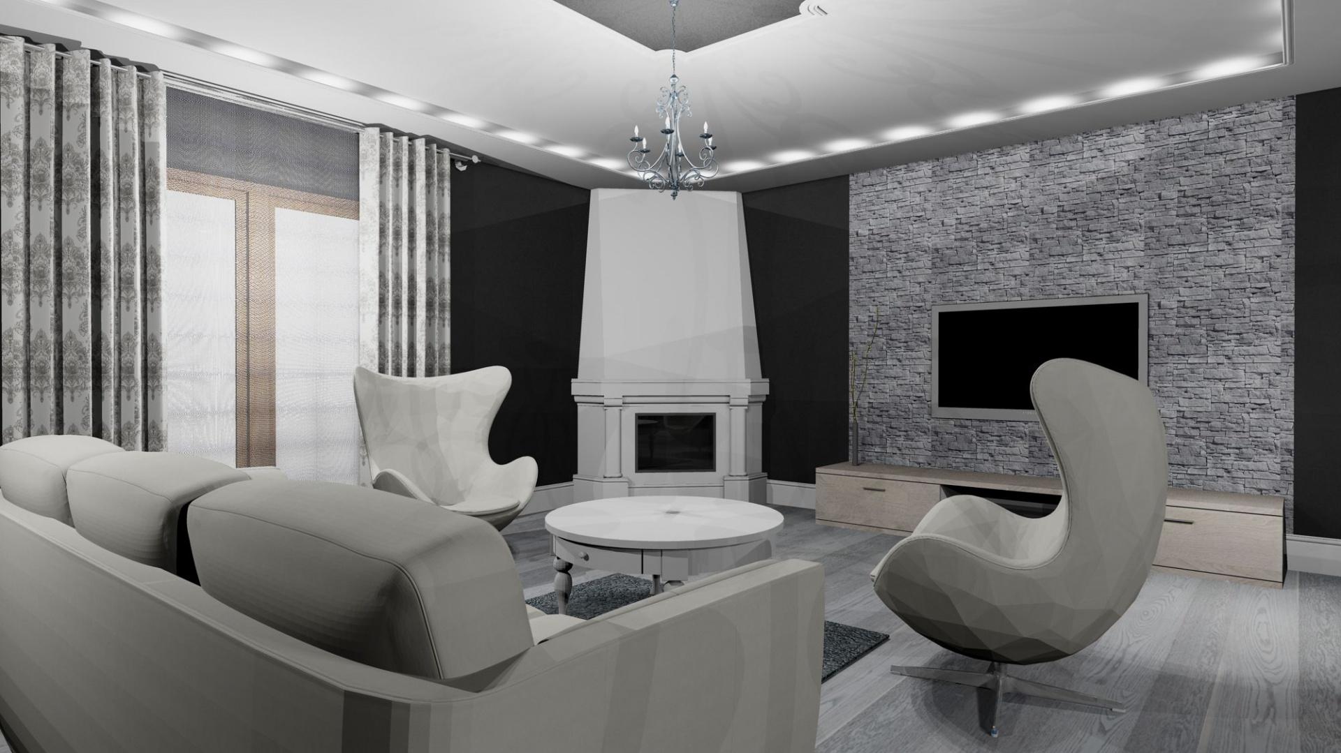 Salon czarno-biały w stylu retro. Fot. Archiwum projektantki