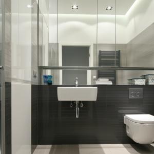 Do wykończenie ścian łazienki wybrano płytki ceramiczne w różnych odcieniach szarości: od ciemnego do jasnego. Projekt: Anna Maria Sokołowska. Fot. Bartosz Jarosz