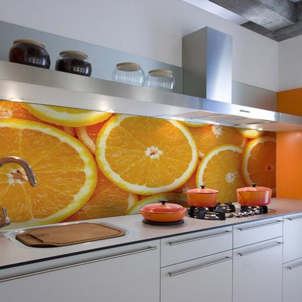 Ściana nad blatem: soczyste cytrusy w kuchni